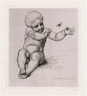 Sir William Blake Richmond 1874 etching Child with a