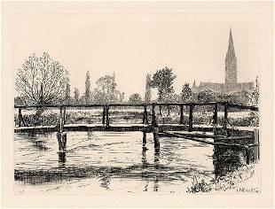 1871 John Postle Heseltine Salisbury etching signed
