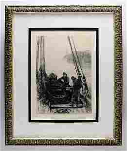 Colin Hunter Shaking the Nets etching signed