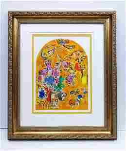 62 Marc Chagall Color Lithograph Jerusalem Windows