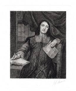 Gonzales Coques Portrait of Cornelis de Bie etching