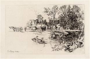 Sir Francis Seymour Haden Cowdray Castle, with Geese