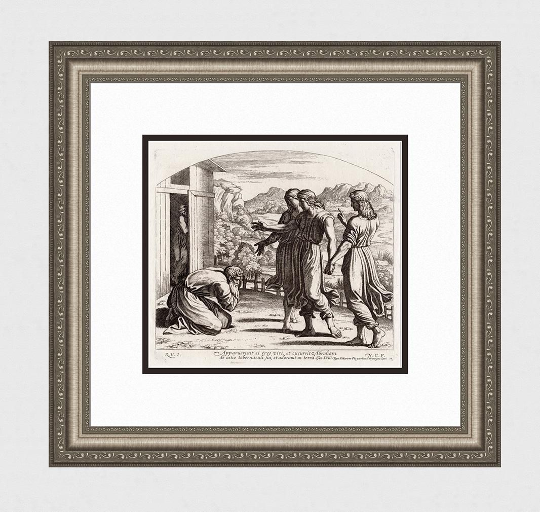 Raphael 1649 Engraving Vatican Abraham is visted by