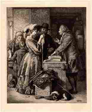 1887 William Mulready Choosing the Wedding Gown etching