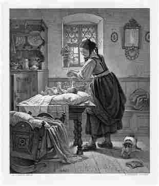 Augustus Ludwig mother and Child 1878 engraving signed