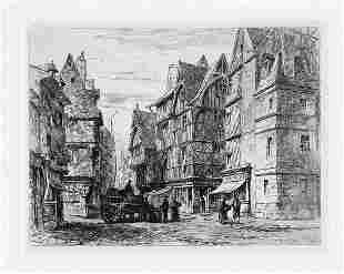 1875 Sir Ernest George Tours. Old Timber Houses etching
