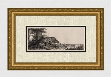 1800s REMBRANDT B226 Landscape with a Cottage and a
