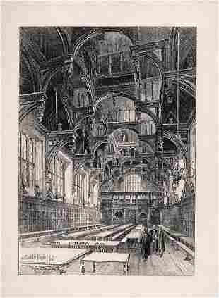 1892 Herbert Railton Middle Temple Hall etching signed