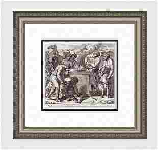 Raphael 1649 Engraving Vatican Noah builds an Altar to