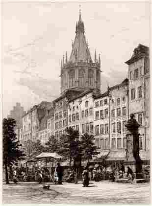 1884 Robert Kent ThomasThe Alt Market, Cologne etching