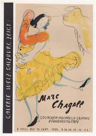 Marc Chagall Gouachen-Aquarelle 1959 lithograph