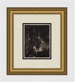 1800s REMBRANDT B50 Etching Presentation in the Temple