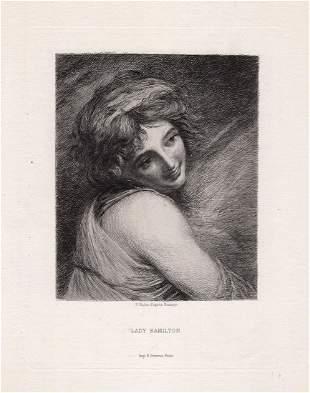 1879 George Romney Lady Hamilton etching signed