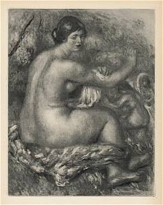 "1919 Pierre Auguste Renoir Engraving ""Nude Washing"""