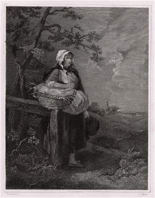 1834 George Morland The Market Girl engraving signed