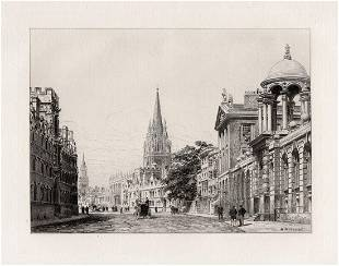 Charles Henri Toussaint 1879 etching High Street signed