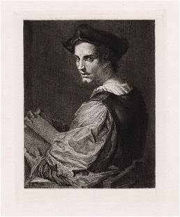 Andrea del Sarto Portrait of Himself etching signed