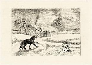 Jules Jacques Veyrassat Wolves I 1871 Etching Signed
