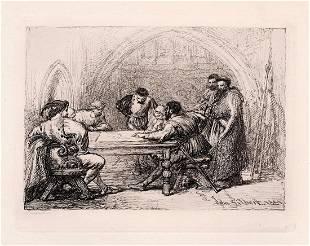 Sir John Gilbert A Council of War 1882 etching