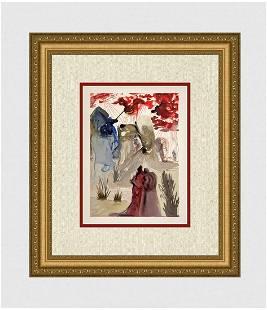 1960 Salvador Dali Divine Forest Original Woodcut