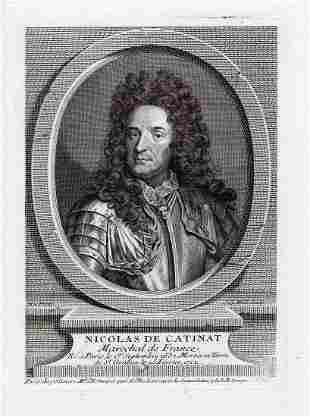 1738 Nicolas de Catinat Self Portrait engraving signed