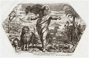 Raphael 1649 Engraving Vatican God Creates the animals