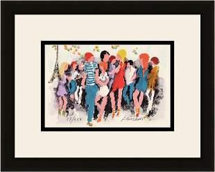 Urbain Huchet Fete a Paris (Party in Paris) lithograph