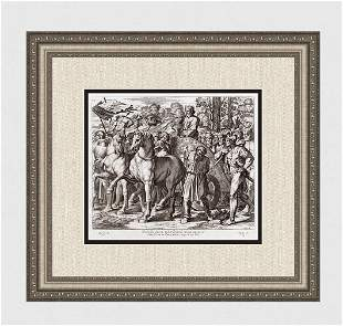 Raphael 1649 Engraving Vatican David brings the gold