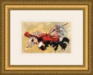 Urbain Huchet Le Violiniste lithograph signed