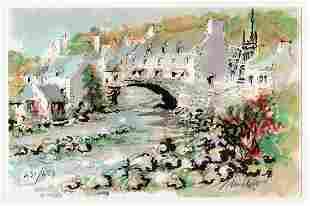 Urbain Huchet The Bridge at Pont Aven lithograph signed