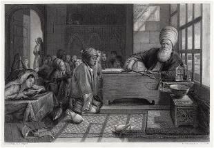 John Frederick Lewis A Turkish School engraving signed