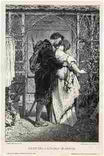 Gabriel Max 1887 woodcut Faust und Gretchen im Garten