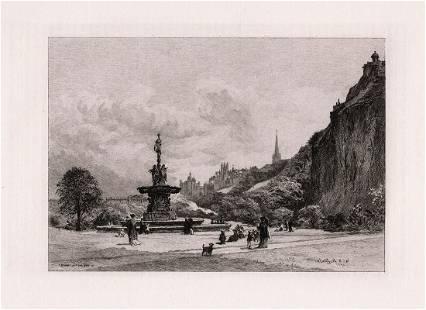 William Ewart Lockhart Prince's Street Gardens etching