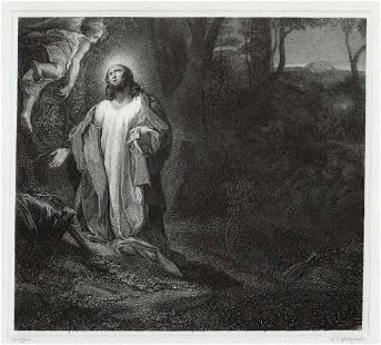 Correggio Christ praying in the garden 1834 Engraving