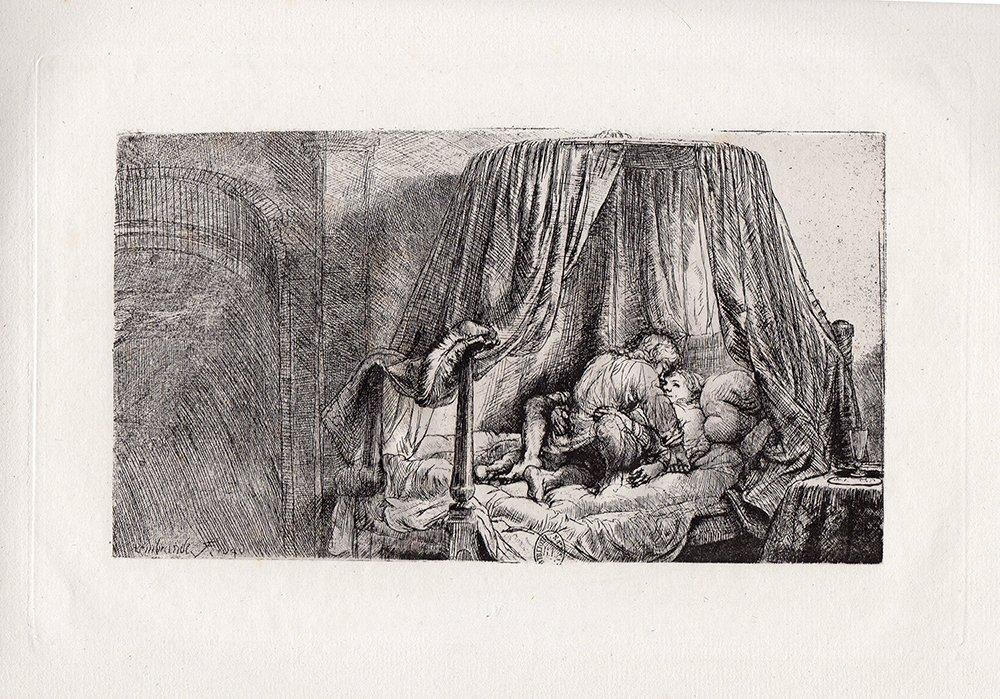 Rembrandt Ledikant etching 1800's