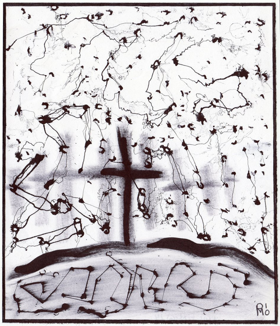 Patrick McDowell Ink Drawing Crucifixtion