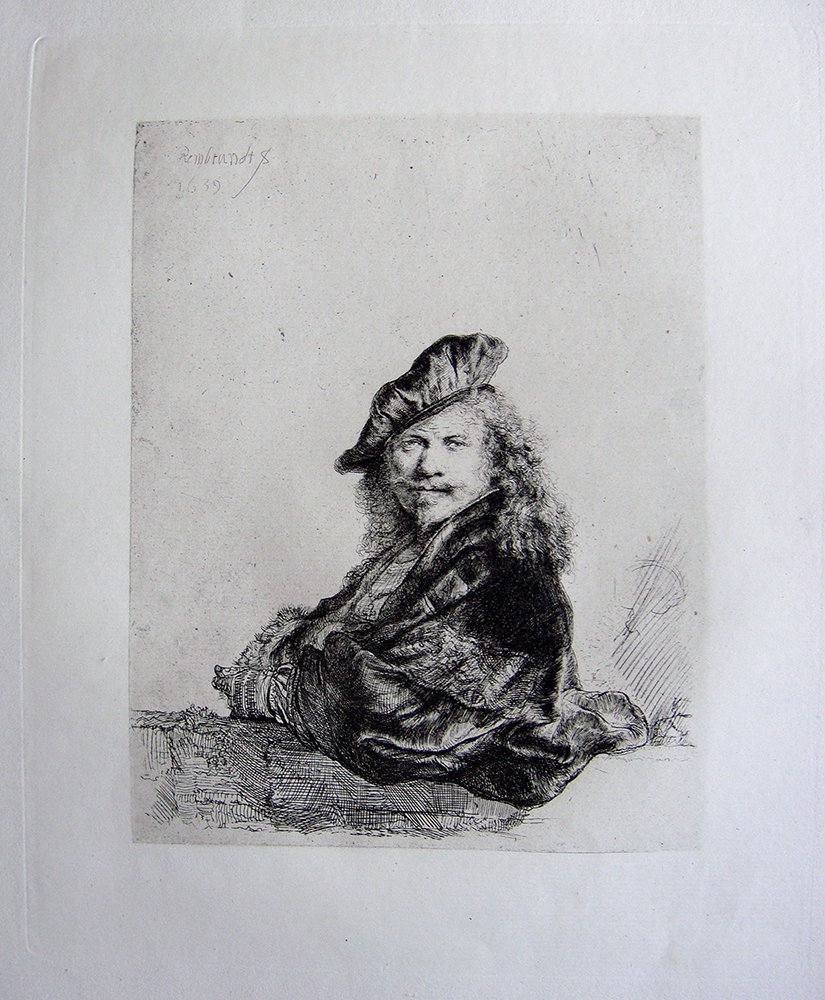 Rembrandt Self Portrati leaning on a Stone etching