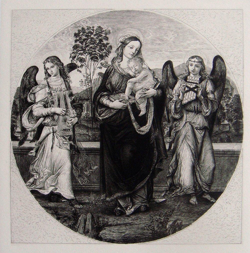 Raffaellino del Garbo Christ antique etching 1800's