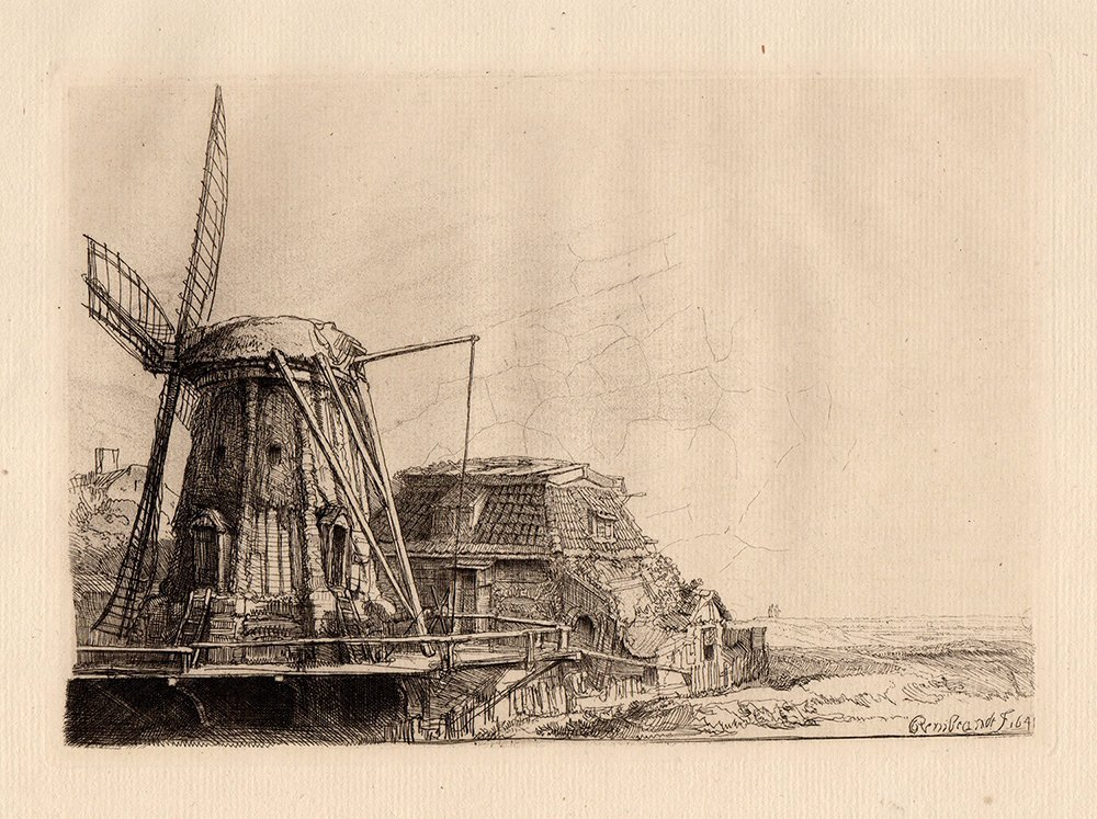 Rembrandt The Windmill etching 1800's