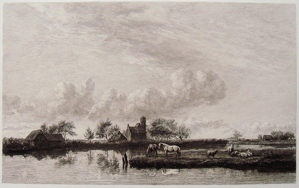 Adrian Van Velde River Landscape etching 1800's