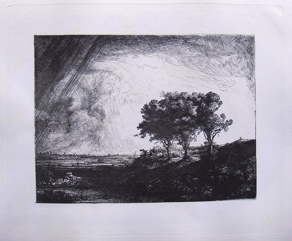Rembrandt Three Trees etching 1800's