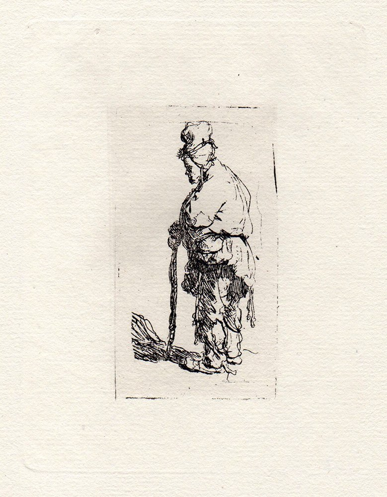 Rembrandt Beggar Leaning on a Stick etching