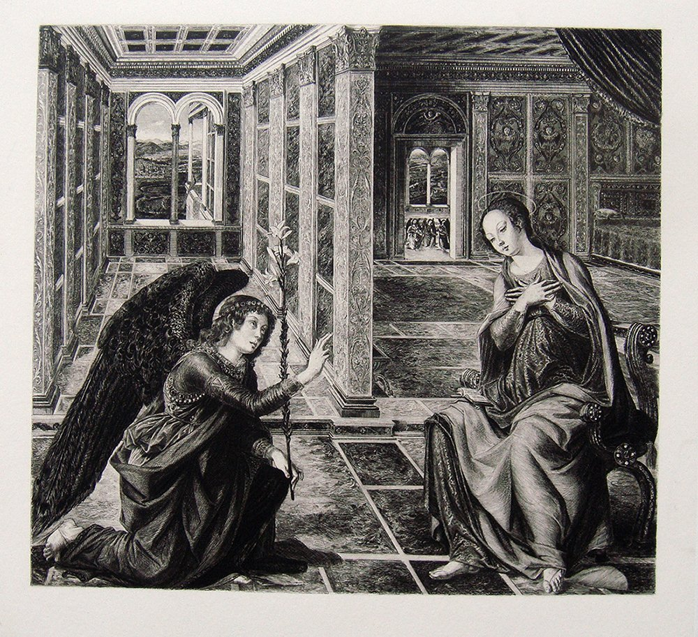 Piero Pollaiuolo The Annunciation etching 1800's