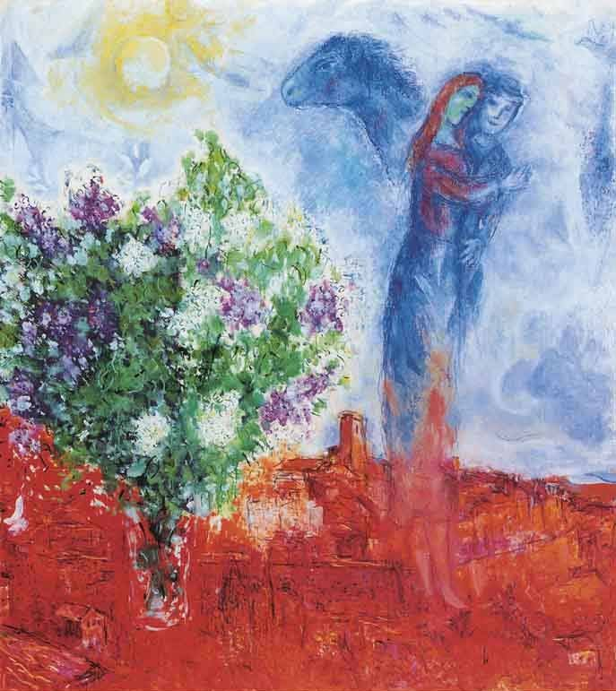 Marc Chagall Couple above St Paul Litho