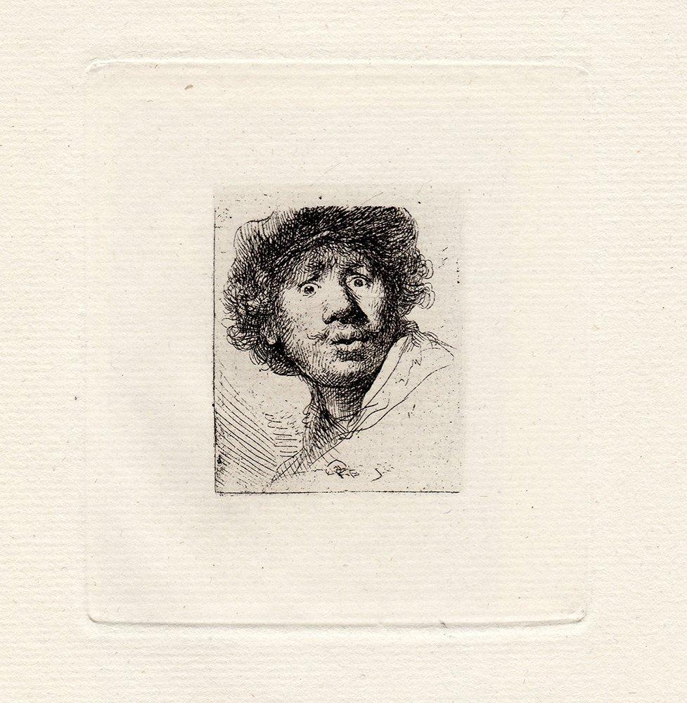 Rembrandt  Self Portrait in a Cap etching