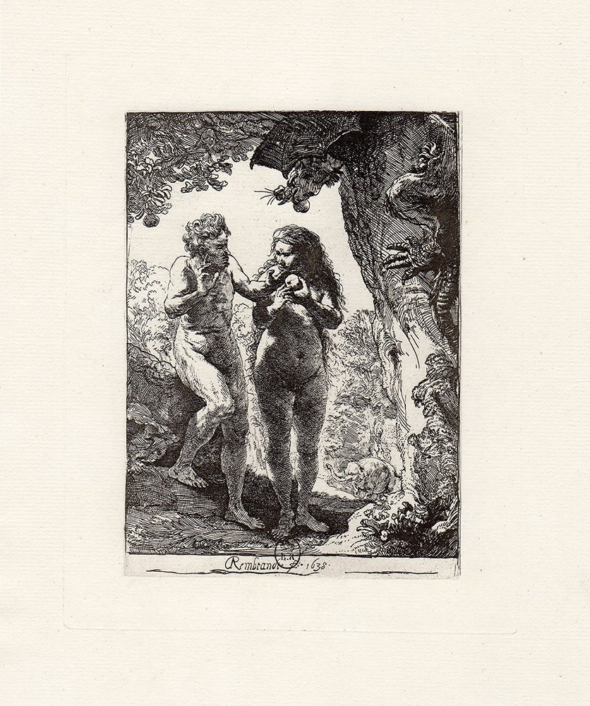 Rembrandt Adam and Eve etching 1800's
