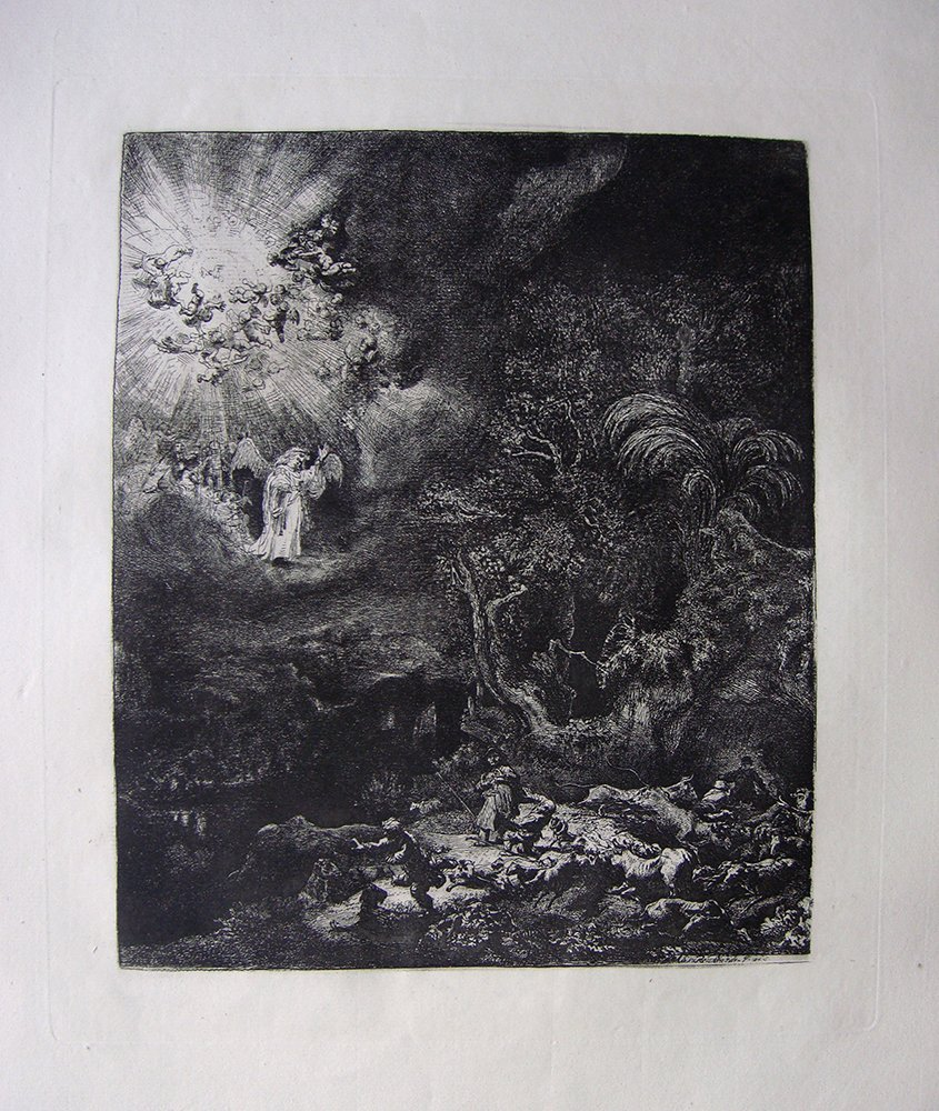 Rembrandt Angel Appearing to Shepherds etching