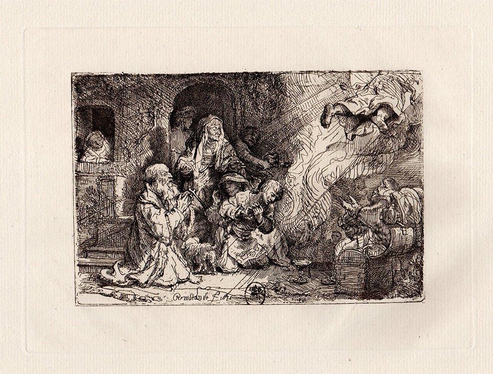 Rembrandt Angel Departing etching