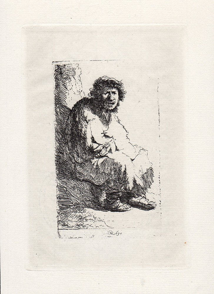 Rembrandt Beggar Seated on a Brook etching