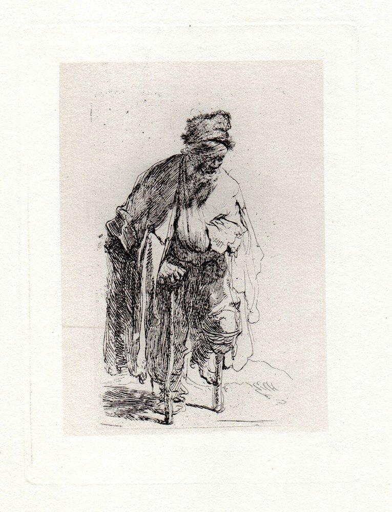 Rembrandt Beggar with a Wooden Leg etching
